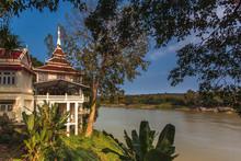 Pavilion On The Mekong River At Hin Mak Peng Temple, Nong Khai, Thailand.