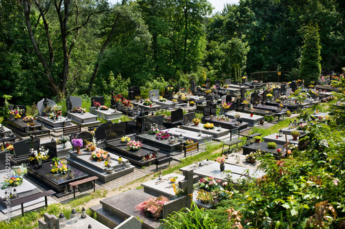 Fotografiet High Angle View Of A Cemetery In Poland