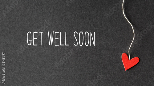Fotografie, Tablou Get well soon message with handmade small paper hearts