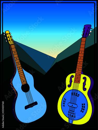 Obraz Dobro & Lap Steel Guitar Mountains Poster - fototapety do salonu