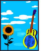 Dobro Guitar And Sunflower Pos...