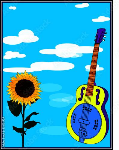 Obraz Dobro Guitar and Sunflower Poster - fototapety do salonu