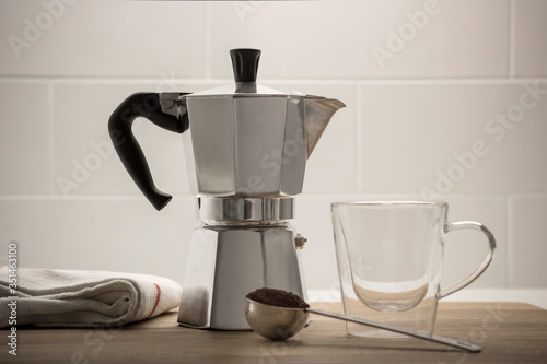 Canvas Print Close-up Of Coffee Maker On Table