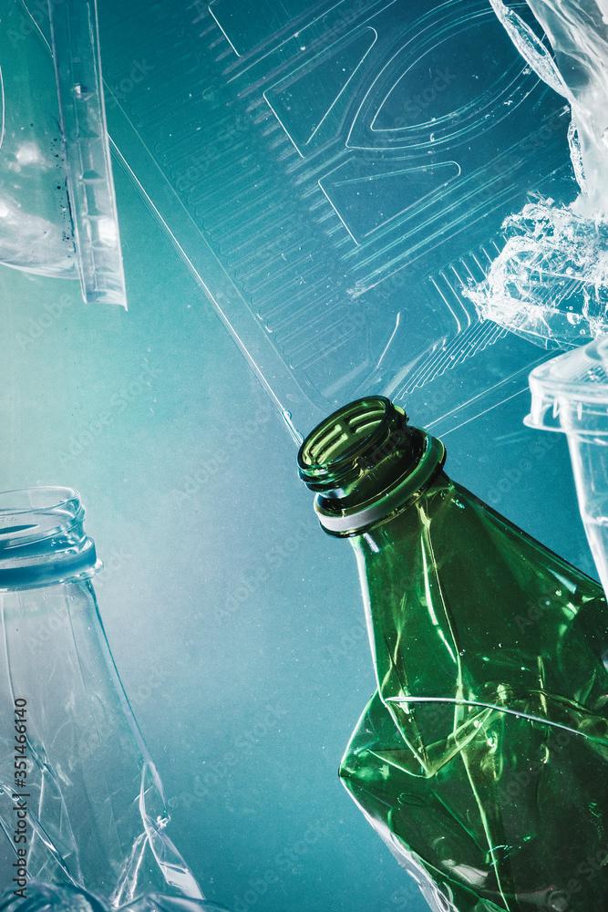 Fototapeta Plastic waste polluting the ocean