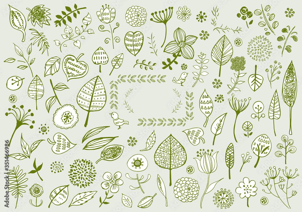 線画:北欧風 イラスト かわいい 手書き 挿絵 ベクター 花 木 葉 植物 緑 リーフ