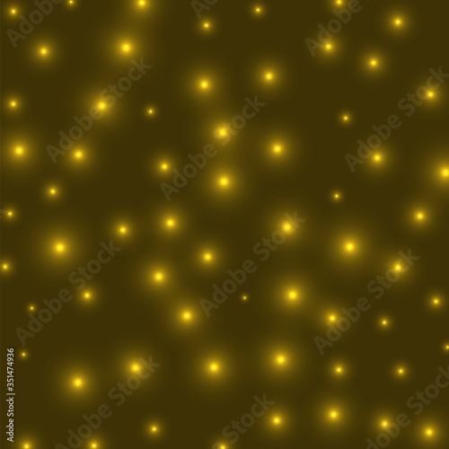 Fototapeta Starry background. Stars densely scattered on yellow background. Artistic glowing space cover. Captivating vector illustration. obraz na płótnie