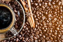 High Angle View Of Coffee With...