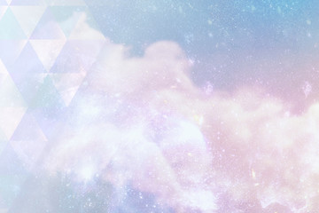 Triangle pattern on a pastel galaxy background illustration