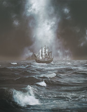 Romantic Ship In A Misty Twilight Sea Or Ocean Old Style Painting