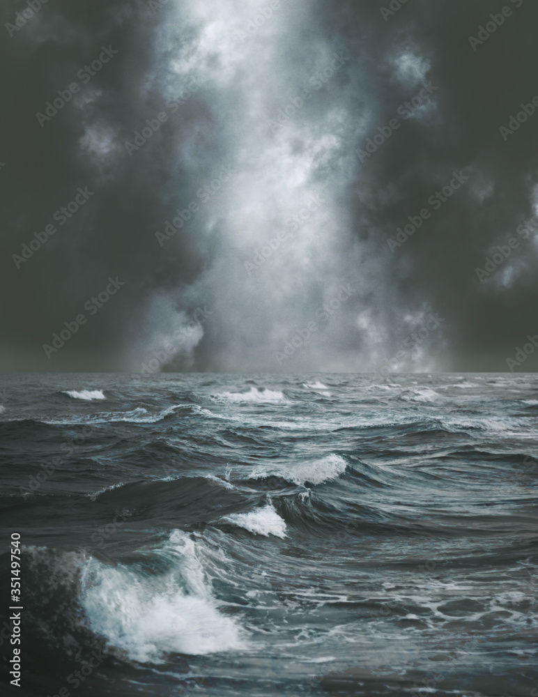 Fototapeta Stormy sea or ocean background