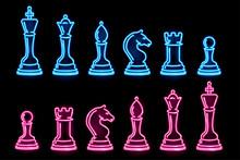 Set Of Neon Chess Pieces Isola...