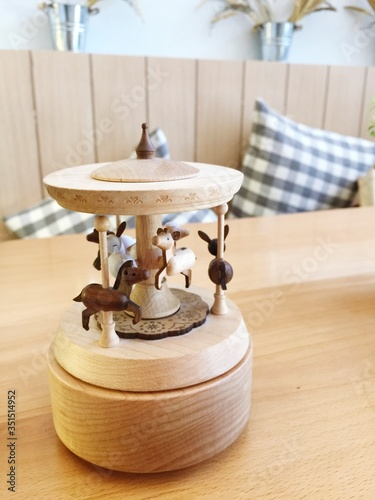 Photo Close-up Of Wooden Toy On Table
