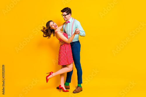 Stampa su Tela Full size photo of two people girl guy dance ballroom hold hand enjoy wear suspe
