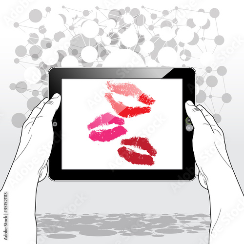 3 large red lip kisses from an online romantic admirer presented on a horizontally held Tablet PC screen Wallpaper Mural