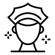 Policeman Head Icon. Outline Policeman Head Vector Icon For Web Design Isolated On White Background