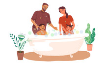 Together Bathing Boy And Girl ...