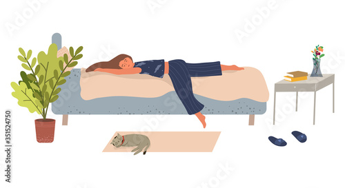 Fototapeta Young woman lies on the bed and sleeps vector illustration in flat style. The concept of depression, apathy and laziness. A girl cannot get out of bed. Fatigue and depression. Cartoon style. obraz