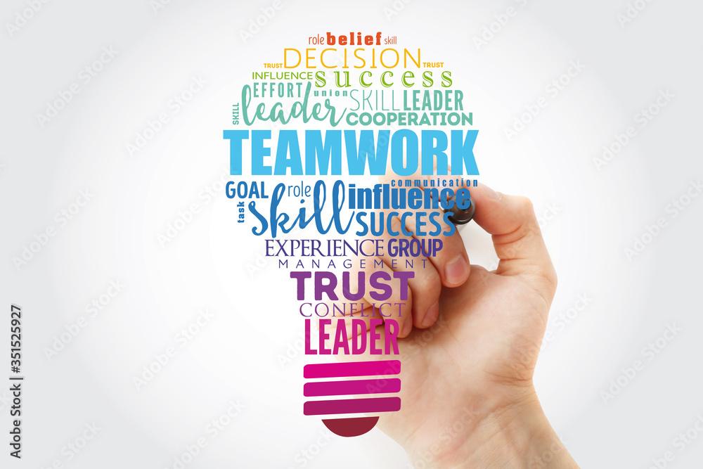 Fototapeta Teamwork light bulb word cloud, business concept background