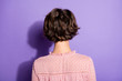 Leinwanddruck Bild - Back rear behind view photo of charming lovely girl dont show her face wear good look clothes isolated over shine color background