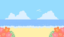 夏の海とハイビスカス...