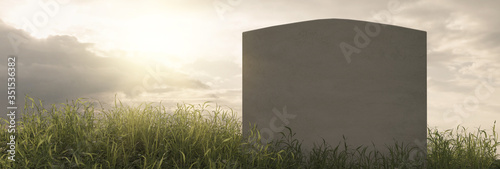 Photo 3d rendering of tomb stone at the peaceful grass meadow with sunlight