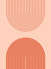 Abstract Contemporary Aesthetic Background With Geometric Balance Shapes, Rainbow Gates. Boho Wall Decor. Mid Century Modern Minimalist Neutral Art Print. Organic Shape. Terracotta Color, Earth Tone.