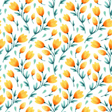 Hand Drawn Watercolor Seamless Floral Pattern For Fabric, Wallpaper, Design And Decor.