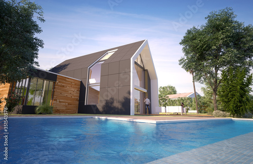 Obraz Modern pitched roof villa with pool - fototapety do salonu