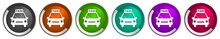 Taxi Icon Set, Silver Metallic Chrome Border Vector Web Buttons In 6 Colors Options For Webdesign