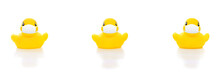 Cute Yellow Rubber Ducks In Fa...