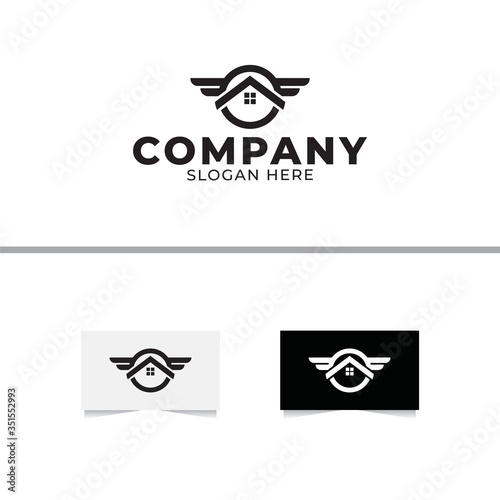 Fotografie, Obraz Home Wings Logo Design Vector Template