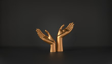 3d Illustration Of Golden Female Hand Isolated On Luxury Black Background, Elegant Mannequin Hands Holding Gesture For Fashion Concept And Jewelry Display, Clean Minimal Design On Blank Showcase Space
