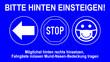 Leinwanddruck Bild - nwcs1 NewWindowCarSign nwcs - taxi icon. - Bitte hinten einsteigen - Möglichst hinten rechts hinsetzen, Fahrgäste müssen Mund-Nasen-Bedeckung tragen - car window sticker / blue template 16zu9 g9661