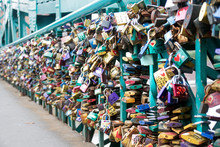 Love Padlocks On A Bridge.