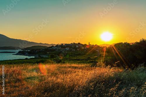 Fotografie, Obraz Scenic view of Lumbarda at sunset. Island of Korcula, Croatia