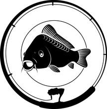 Fishing Badge With Carp Fish A...