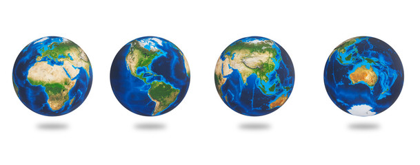 Africa, Asia, Europe, America, Australia, the Earths continents. Earth set isolated on white background. Earth planet globes.