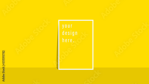 Fototapeta Brochure template flyer Simple yellow color background for business design obraz