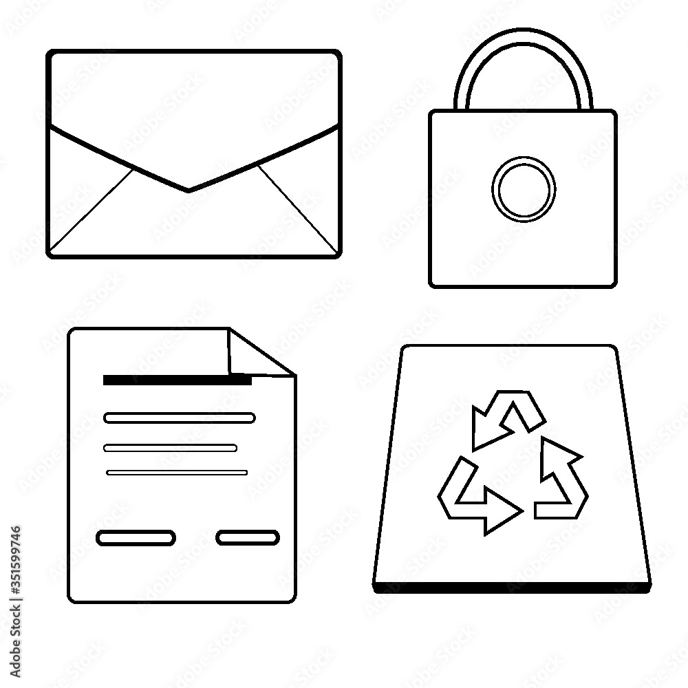 Fototapeta set of mail icons