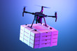 Leinwandbild Motiv Realistic Drone Quadcopter With Batch of Pizza Boxes On Bright Violet Background. Contactless Delivery. 3d rendering