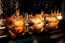 Close-up Of Chicken Rotisserie On Barbecue