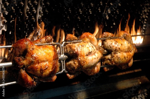 Close-up Of Chicken Rotisserie On Barbecue Canvas Print
