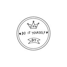 Vector Illustration Of  Hand Drawn DIY Label. Do It Your Self Quote.