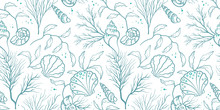 Lovely Hand Drawn Under Water Plants Seamless Pattern, Summer Background, Great For Textiles, Banners, Wallpapers, Wrapping - Vector Design