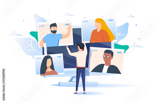 Obraz Illustrations flat design concept video conference. online meeting work form home. Vector illustrate. - fototapety do salonu