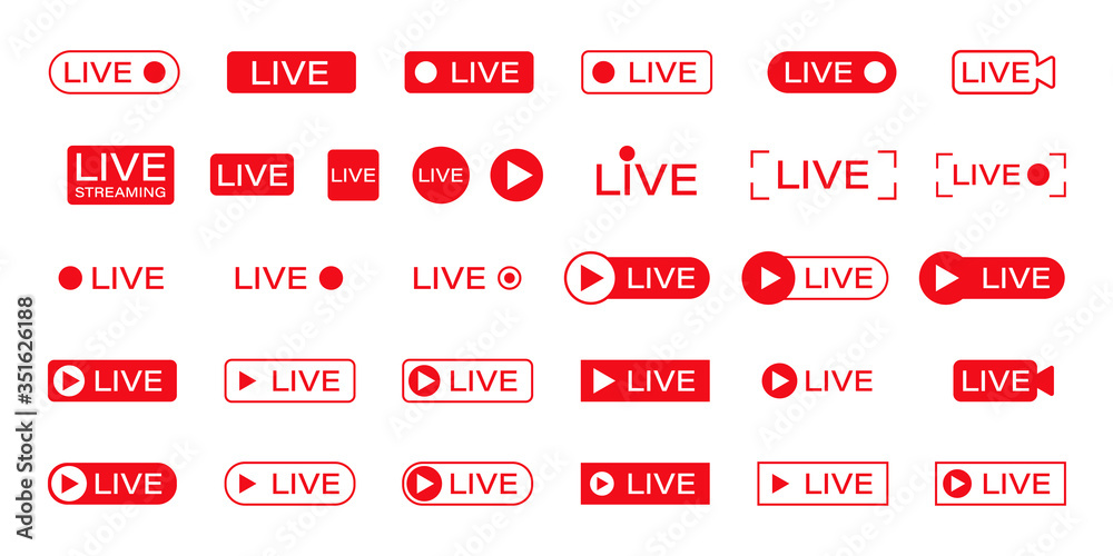 Fototapeta live icon online stream video play vector illustration