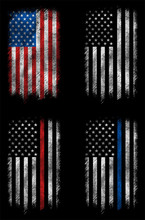 Grunge Usa, Police, Firefighter Flag Set 2 Vector Design.