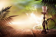 Oriental Hookah With Smoke On ...