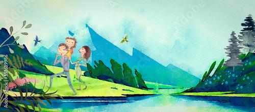 Fototapeta Family in the mountains. Watercolor background obraz