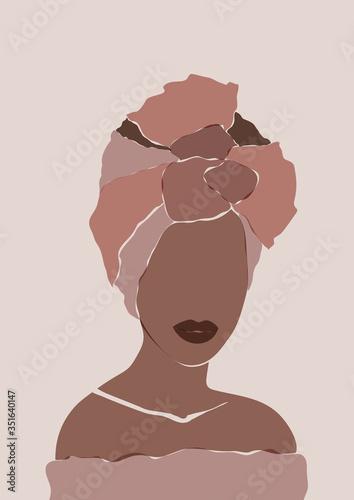 Obraz na płótnie Abstract African woman portrait in minimalistic style